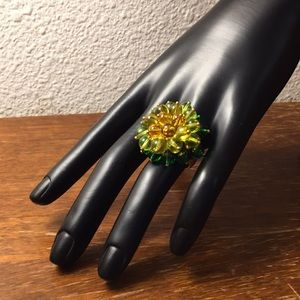 J. Crew green bead ring